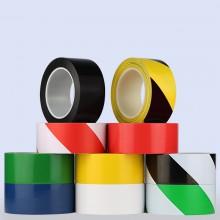 PCV警示胶带地板胶带彩色划线胶带黑黄斑马线警戒地贴标识胶带33m